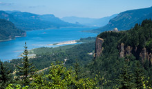Panoramic View Of Columbia River Gorge With Crown Point Vista House From Women's Forum Scenic Viewpoint - Oregon, USA