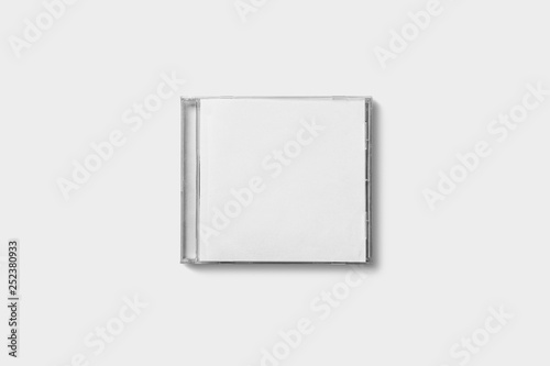 Canvas Print Closed compact plastic disc box case with white isolated blank for branding design