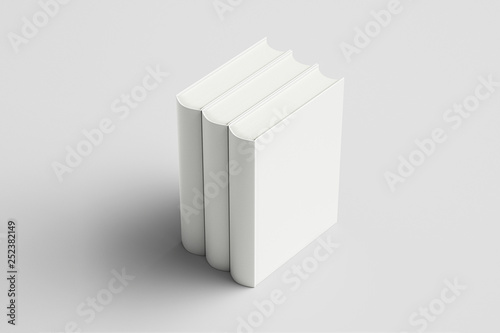 Fotografija  Vertically standing template Books Mock up isolated on soft gray background,Real photo, blank books, brochure, booklet, hard cover and soft cover