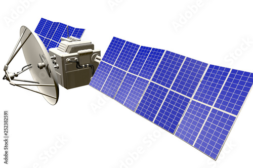 Fotografia  orbital satellite industrial illustration - spaceship with huge solar panels iso