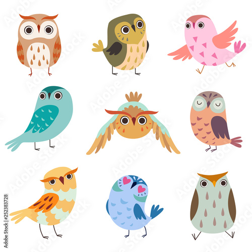 Poster Uilen cartoon Collection of Cute Owlets, Colorful Adorable Owl Birds Vector Illustration on White Background