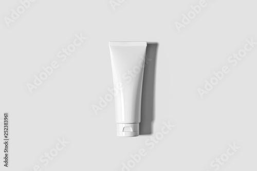 Photo Cosmetic White Plastic Tube Isolated on soft gray background