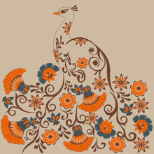 Pattern With Embroidered Peacock And Flowers