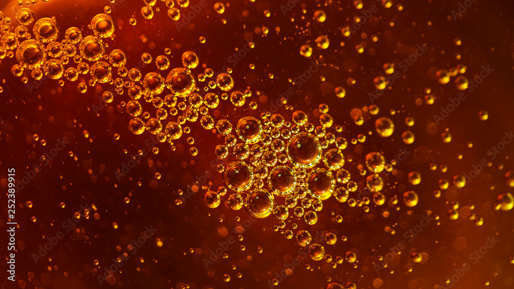 Fototapety, obrazy: Bubbles, texture, honey, vegetable oil, machine oil, juice, beer, air,