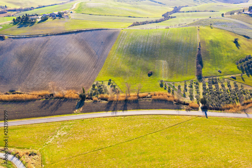 Drone view of Tuscany landscape