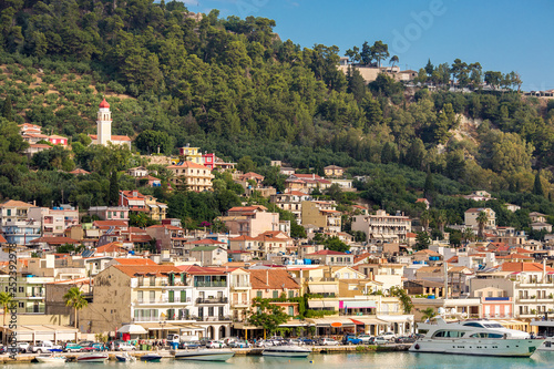 Amazing Panoramic view of Zakynthos Trade Port, Shipping, Zakynthos, Greece Canvas Print