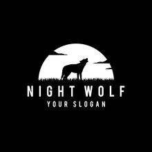 Silhouette Of Wolf Howling At The Full Moon Vector Illustration. For A White Background. - Vector