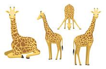Cute Giraffe Sitting Cartoon Vector Illustration