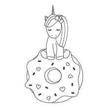 Cute Vector Black And White Cartoon Lovely Unicorn Sitting On A Big Donut Illustration For Coloring Art