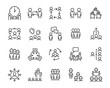 Leinwandbild Motiv set of business people icons, such as meeting, team, structure, communication, member, group