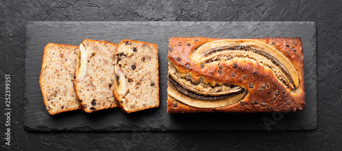 Foto auf Gartenposter Brot Homemade healthy banana bread or cake for breakfast.