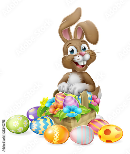 Photographie An Easter bunny rabbit cartoon character with a basket on an Easter egg hunt