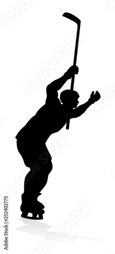 A detailed silhouette hockey player sports illustration Canvas Print