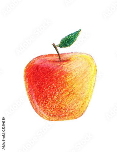 Red Apple With A Leaf Color Pencil Drawing Buy This Stock Illustration And Explore Similar Illustrations At Adobe Stock Adobe Stock