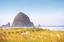 Cannon Beach Oregon Landscape Of Haystack Rock And Grassy Beach