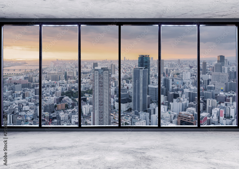 Fototapety, obrazy: Empty interior space with skyscraper city view in sunrise through window