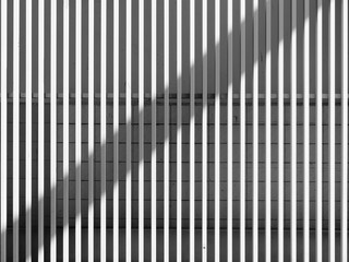 black and white architecture metal wall design with light and shadow