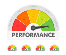 Performance Meter With Different Emotions. Measuring Gauge Indicator Vector Illustration. Black Arrow In Coloured Chart Background
