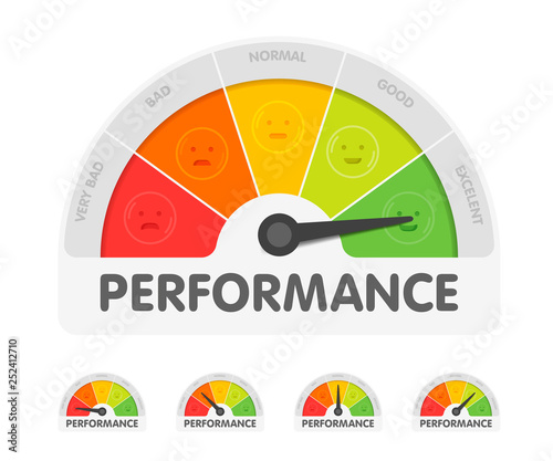 Slika na platnu Performance meter with different emotions