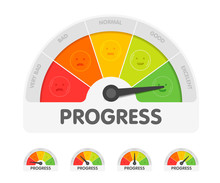Progress Meter With Different Emotions. Measuring Gauge Indicator Vector Illustration. Black Arrow In Coloured Chart Background