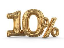 Golden Ten Percent Made Of Inflatable Balloons. Percent Set. 3D