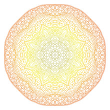 Circular Pattern In Form Of Mandala For Henna, Mehndi, Tattoo, Decoration. Decorative Ornament In Ethnic Oriental Style. Coloring Book Page. Vector Illustration. Clipart For Your Design Easy To Use