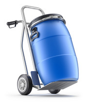 Hand Truck With Blue Plastic Barrel - 3D Illustration
