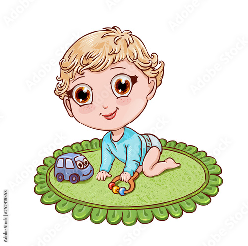Photo  Little blond boy plays and crawls on a child's rug