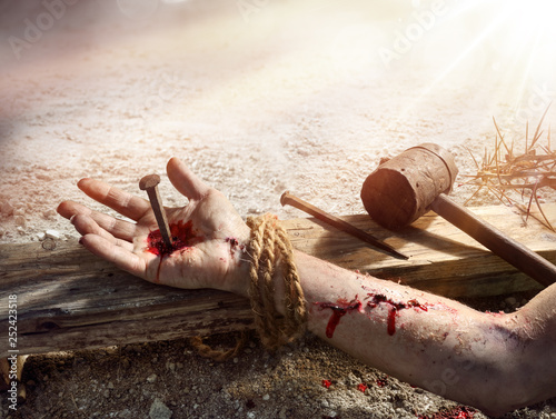 Fotografia Crucifixion Of Jesus - Christ Nailed On Wooden Cross