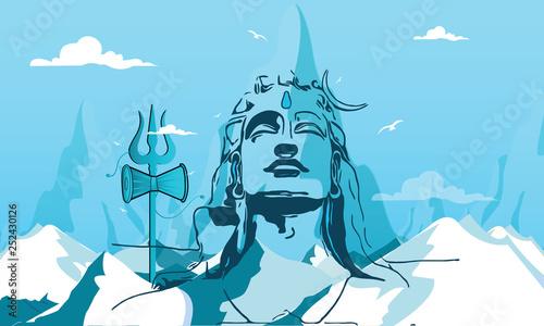 Fotografie, Obraz Illustration Of Happy Maha Shivratri Greeting Card Design