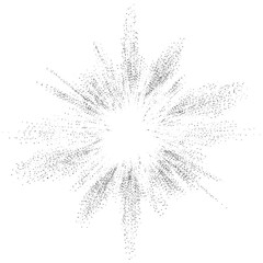 Digital burst pattern with multiple dots. Explosion consist of black particles isolated on white background. Futuristic big data illustration. Abstract dotted concept for galaxy or universe design
