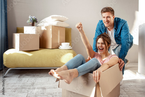 Young family couple bought or rented their first small apartment Fototapete