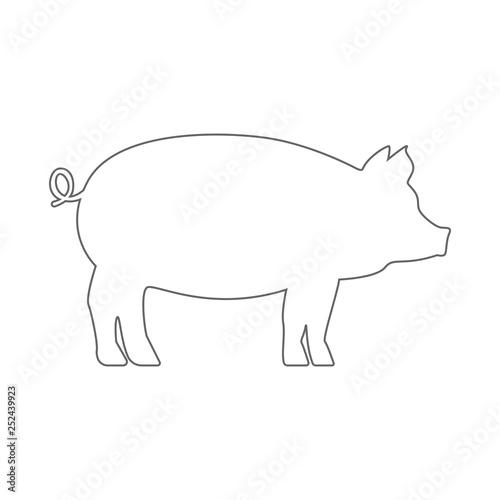 pig silhouette. outline. vector. stock vector | adobe stock  adobe stock