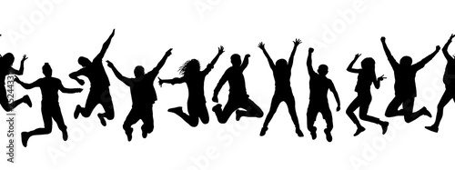 Stampa su Tela Silhouettes of many different jumping people, seamless pattern