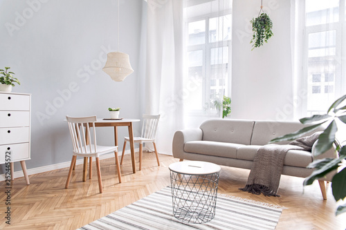 Fotomural  Modern scandinavian decor of living room with design furniture, family table, sofa and plants Brown wooden parquet and stylish carpet