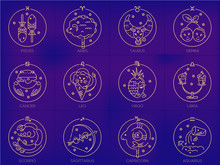 Vector Signs Of The Zodiac In Circles Of Golden Color On A Blue Background, Logo, Tattoo Or Illustration. Astrological Forecast, Food Horoscope