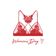 Happy Women's Day Greeting Card. Postcard On March 8. Classic Female Underwear. Lacy Red Female Bra Hand-drawn Style. Women Fashion Clothing Design Template, Isolated Illustration On White Background.