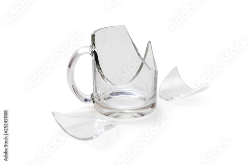 Fotografia Broken glass cup isolated on white background