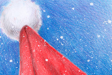 Santa Claus Hat. Snow Background Illustration With Colored Pencils. Christmas Year Winter