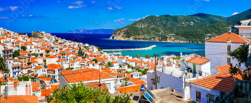 Skopelos island, view of Chora town, northen Sporades of Greece