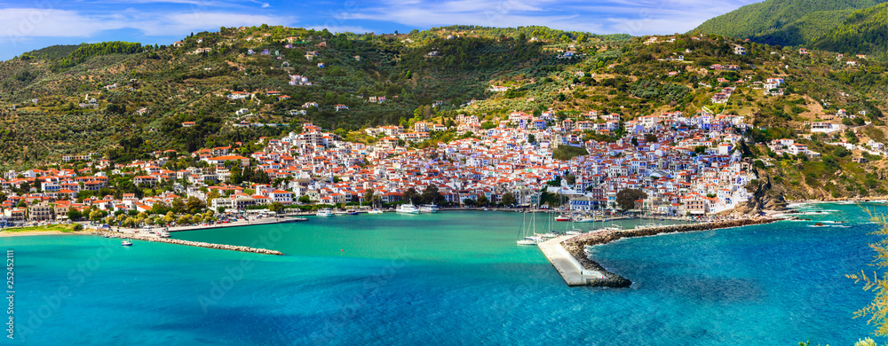Fototapety, obrazy: Beautiful greek islands- amazing Skopelos. view of town and port. Northen Sporades, Greece