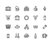 Simple Set Of Beer Vector Line Icons. Contains Such Icons As Beer Glass, Bottle, Mug, Keg, Cap And More. Editable Vector Stroke. 48x48 Pixel Perfect.