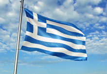Greece Flag Waving Sky Backgro...