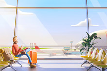 Cartoon Character Tourist Sits With Hand Phones In Airport. 3d Illustration. A Man Is Waiting For His Flight In The Airport Lobby
