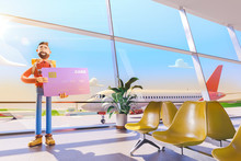 Cartoon Character Holds A Big Credit Card In Airport. 3d Illustration. Concept Of Travel Over The Air Miles