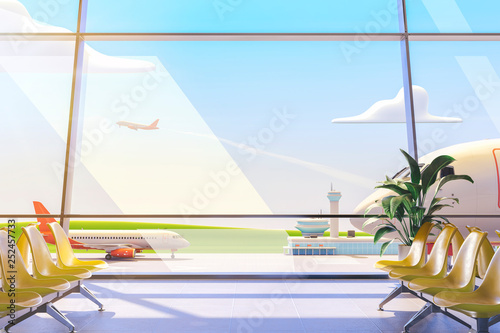 Foto  Cartoon airport terminal lounge with airplane on background