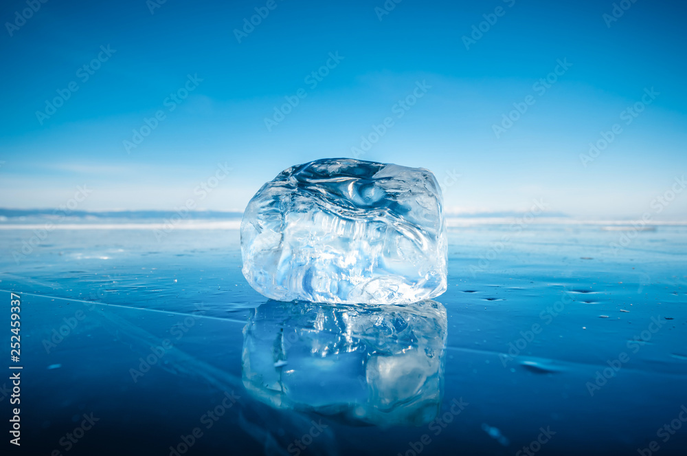 Fototapety, obrazy: Close-up of natural breaking ice on frozen water in Lake Baikal, Siberia, Russia.