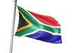 canvas print picture - South Africa flag waving isolated white background 3D illustration