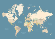 Highly Detailed World Map With...