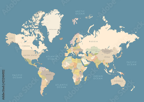 Fototapeta Highly detailed world map with labeling. Сountries in different color obraz